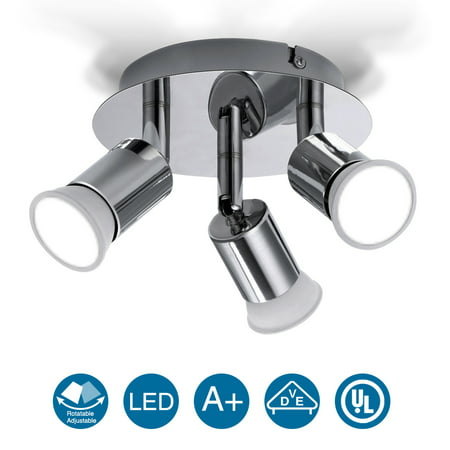 Multi-Directional LED Rotatable Ceiling Light 3-Way Spotlight Kitchen Pendant Lighting Shop Display Bar Fixture