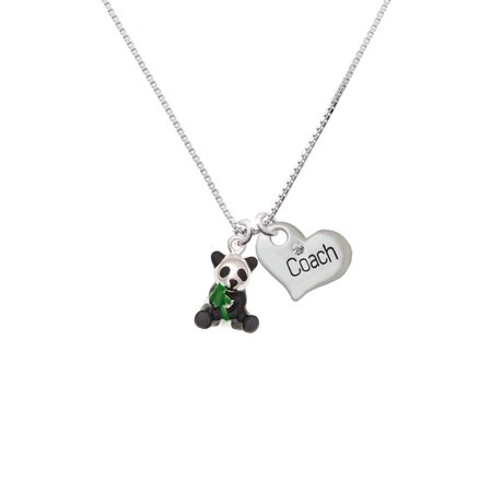 Silvertone Enamel Sitting Panda Coach Heart Necklace