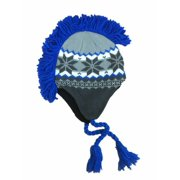 Aquarius Boys Gray & Blue Snowflake Print Mohawk Hat Fringe Skull Aviator Trapper