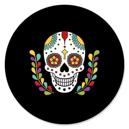 Day Of The Dead - Halloween Sugar Skull Party Circle Sticker Labels - 24 Count