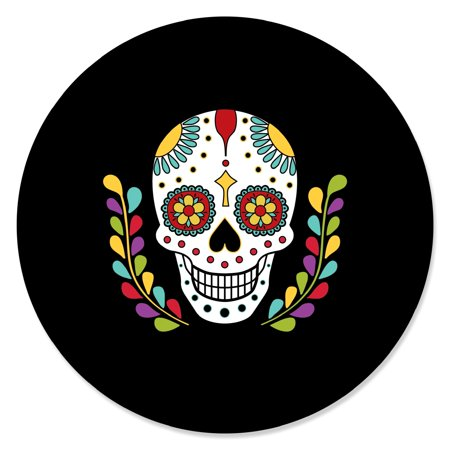Day Of The Dead - Halloween Sugar Skull Party Circle Sticker Labels - 24 Count (Halloween Sugar Skull Easy)
