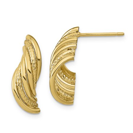 Primal Gold 14 Karat Yellow Gold Fancy Polished and Diamond-cut Wire Curves Post Dangle Earrings