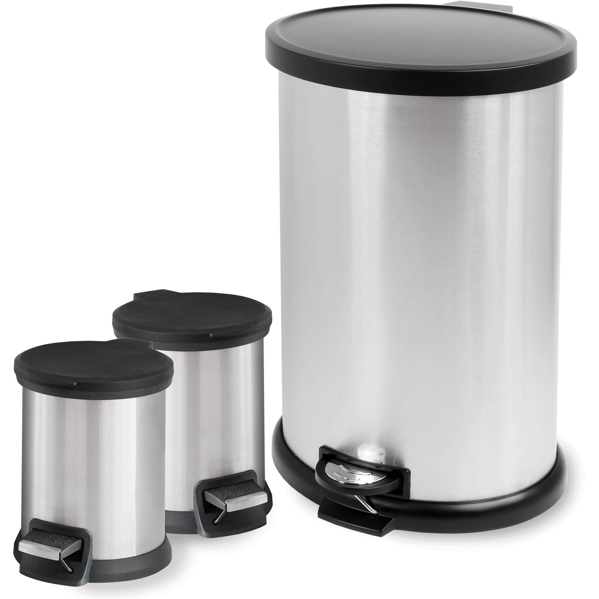 mainstays 3 piece home office bundle black. Mainstays 3-Piece Stainless Steel Waste Can Combo 3 Piece Home Office Bundle Black