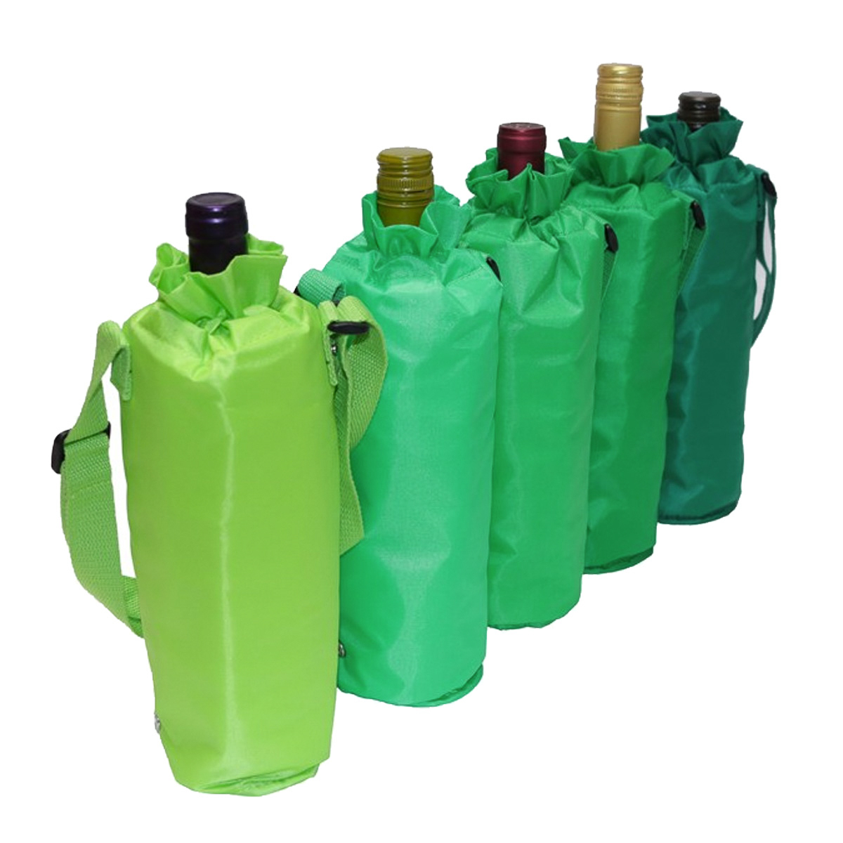 Set of 5 Sachi Insulated Single Wine Bottle Bag Multi Colored Drawstring Tote