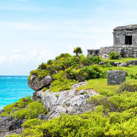 ¡Viva Mexico! Square Collection - Ancient Mayan Fortress in Riviera Maya - Tulum Print Wall Art By Philippe Hugonnard