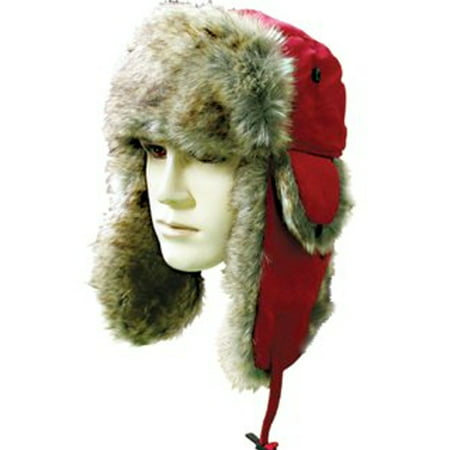 Unisex Headwear Trapper Hat with Faux Fur   Ear Flaps-Red - Walmart.com f58d989114c9