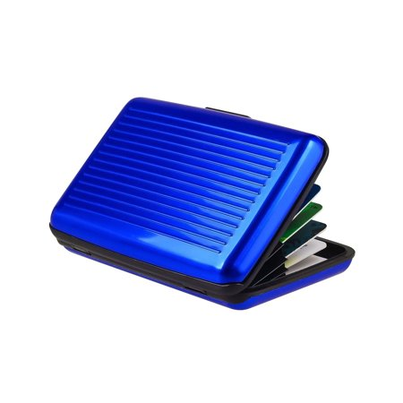 Zodaca Blue Business Aluminum ID Credit Card Wallet Case Holder Metal Box Pocket ()