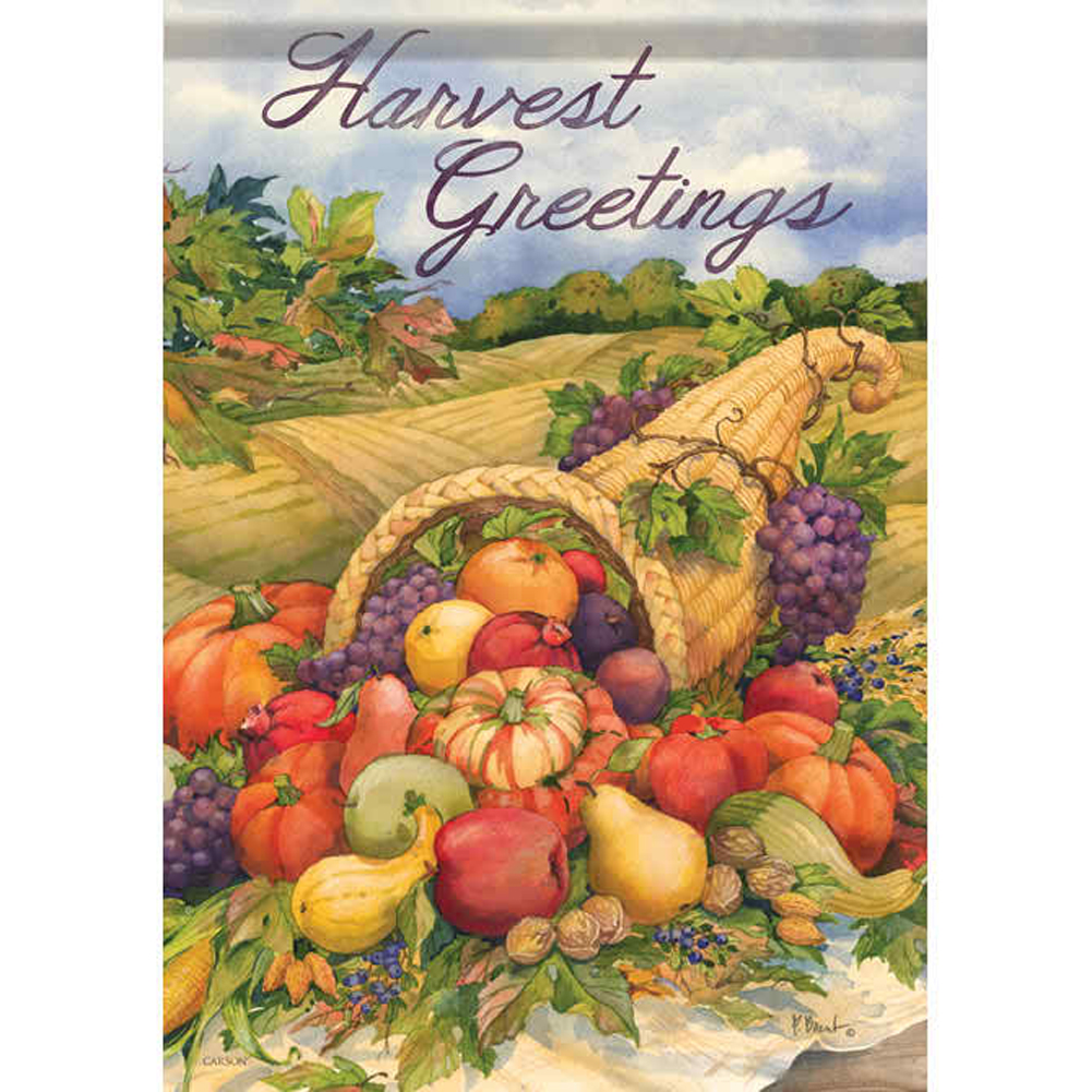 Carson Harvest Greetings House Flag