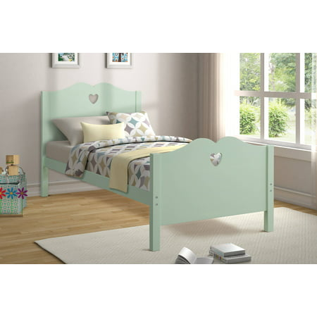 Platform Bed Frame, Twin Size Bed Frame, Wood Mattress Foundation Sleigh Bed Frame with Headboard/ Footboard for Adults Teens Children, Green Twin Bed Frame with Wood Slat Support for Bed Room, I8828 ()