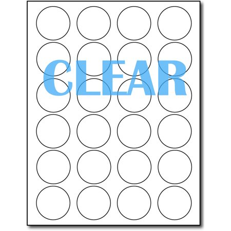 """Crystal Clear Laser Labels 1 2/3"""" Round - 10 Sheets / 240 Labels"""
