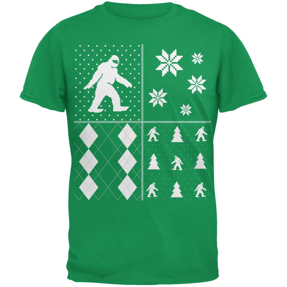 Sasquatch Festive Blocks Ugly Christmas Sweater Green Adult T-Shirt