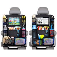"""2 Pack Car Back Seat Organizer for Kids Car Organizer Kick Mats with 10"""" Touch Screen Tablet Holder + 9 Storage Pockets Car Back Seat Protector Car Travel Accessories for Toddlers Toys"""