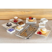 10 Strawberry Street 24-Piece Square Tidbit Serving Set with Mini Utensils, White