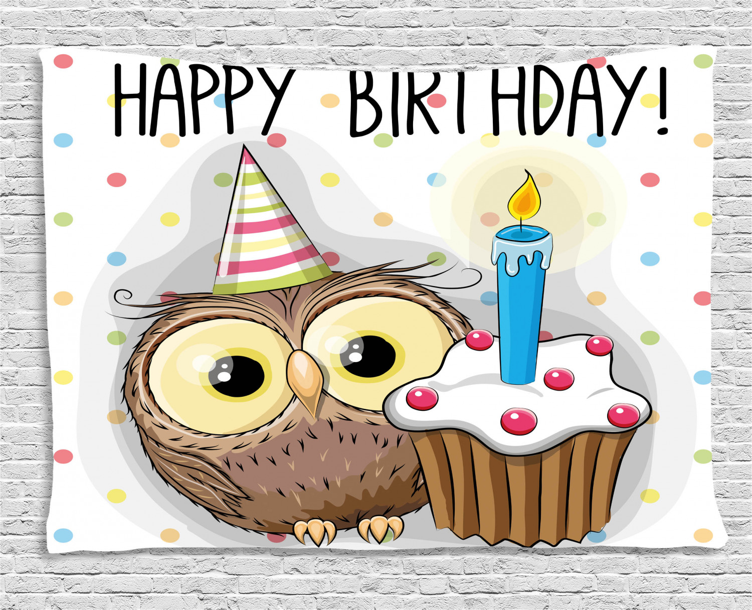 Birthday Decorations For Kids Tapestry, Baby Owl Party