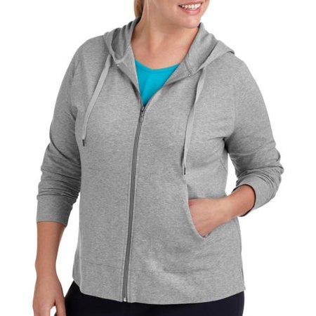 Danskin Now Womens Plus-Size Dri-More Zip Up Hoodie