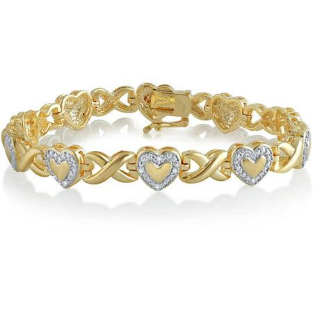 Diamond Accent 14K Yellow Gold Plated Brass Heart Infinity Bracelet,7.5