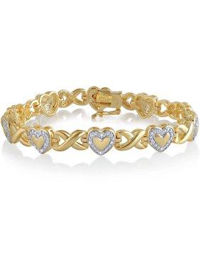 "Diamond Accent 14K Yellow Gold Plated Brass Heart Infinity Bracelet,7.5"""