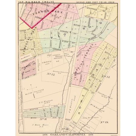 Old City Map - Oakland California Twelveth Ward - 1878 - 23 x 29.75 City Of Oakland Map on