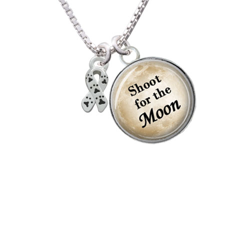 "Mini Ribbon with Paw Prints Shoot for the Moon Glass Dome Necklace, 18""+2"""