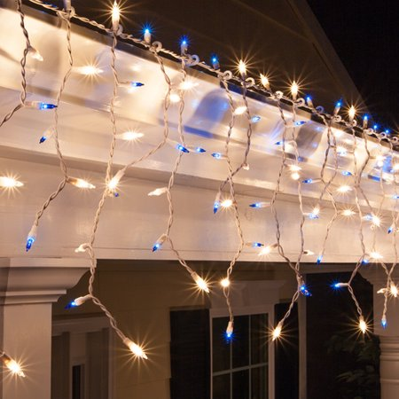 Halloween Icicle Lights (Set of 150 Blue and Clear White Mini Incandescent Icicle Lights with White Wire 4 in.)