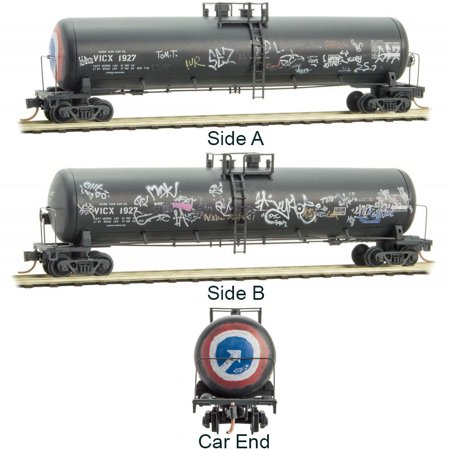 - Micro-Trains MTL N-Scale 56ft GS Tank Car Union/VICX Weathered/Graffiti #1927