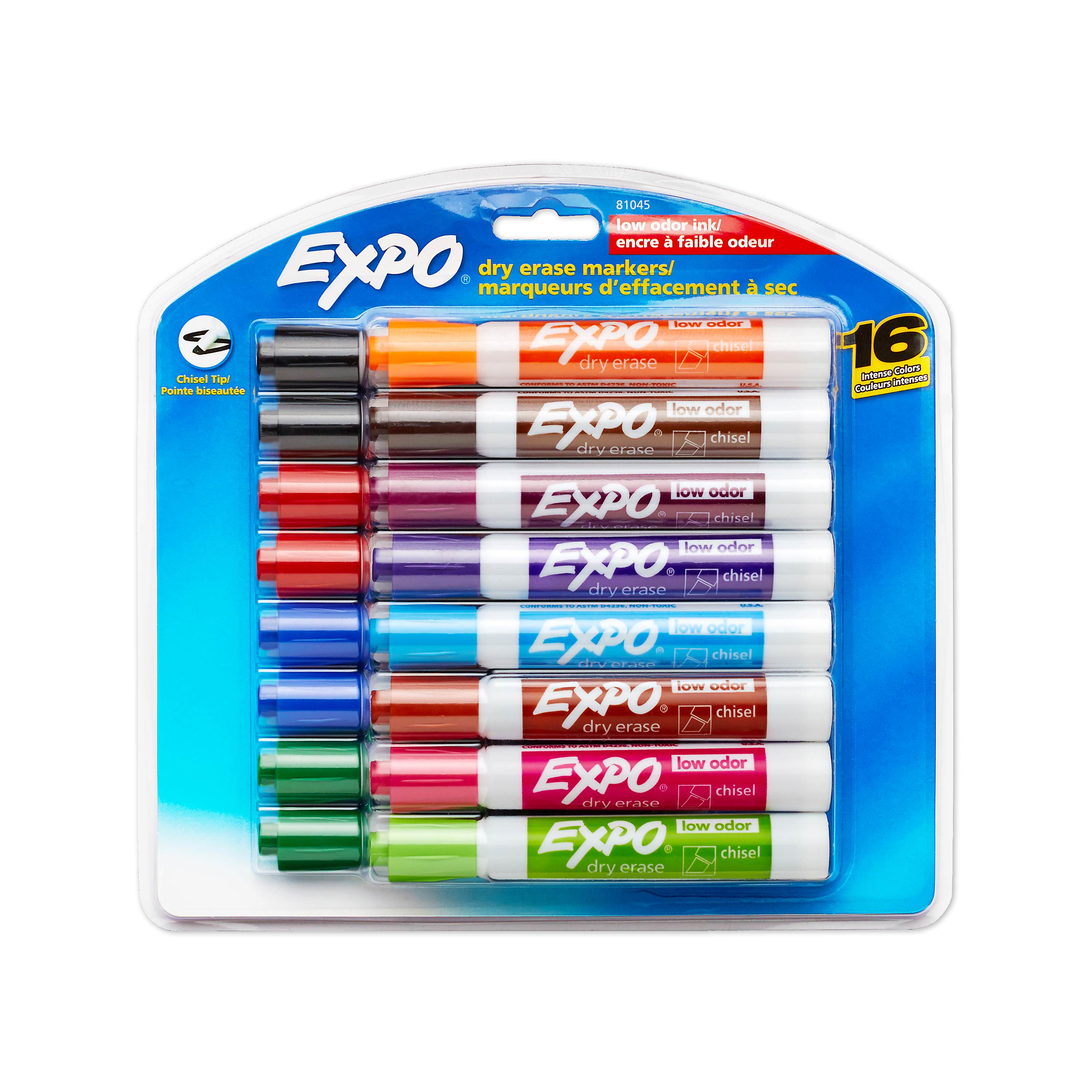 EXPO Low Odor Dry Erase Markers, Chisel Tip, Assorted Colors, 16 Pack
