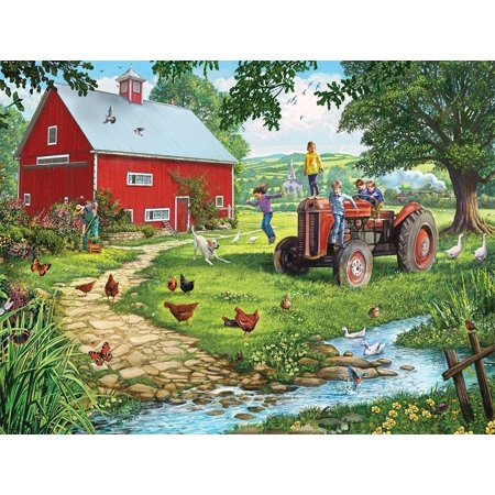 Old Tractor Jigsaw Puzzle (1000 Piece), A pastoral scene is created