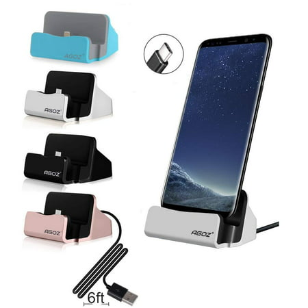 Agoz Type C Desktop Charging Charger Dock Station Cradle Stand Holder for LG G8 ThinQ, V50 ThinQ, Stylo 4, V40 ThinQ, G7 ThinQ, V35 / V35+ ThinQ, V30S / V30S+ ThinQ, V30+, V20, G6+ Plus, G6, G5