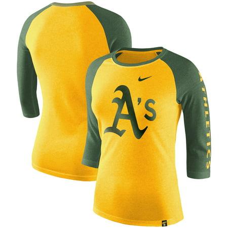 sports shoes 09cb6 afee0 Oakland Athletics Nike Women's Tri-Blend 3/4-Sleeve Raglan T-Shirt -  Heathered Gold/Heathered Green - Walmart.com