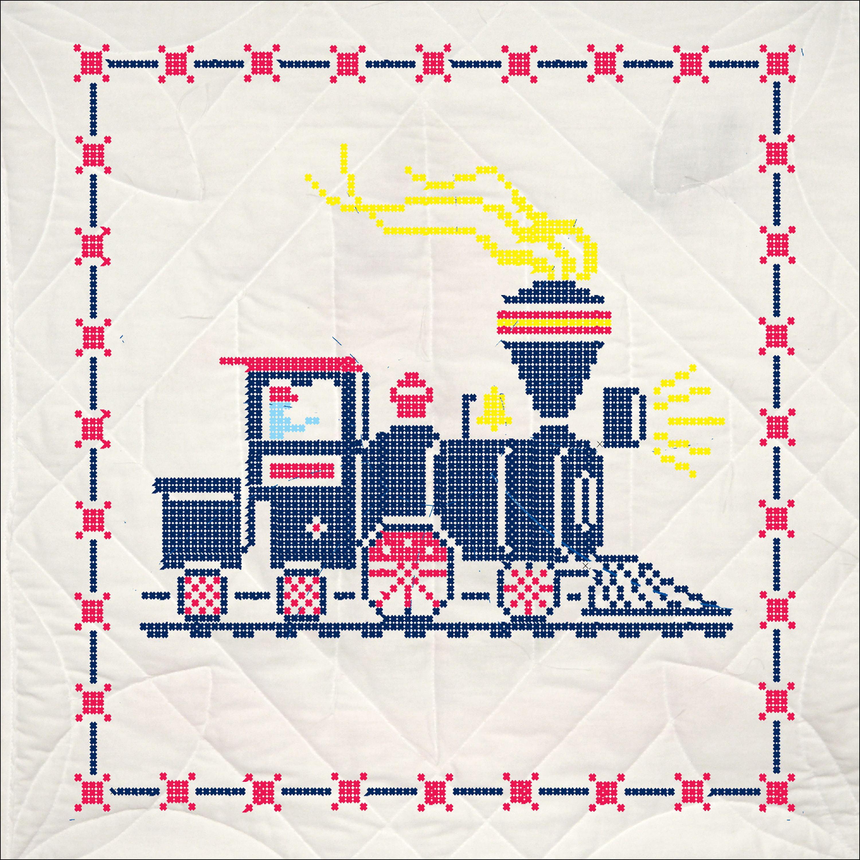 """Fairway Stamped Quilt Blocks 18""""X18"""" 6/Pkg-Train"""