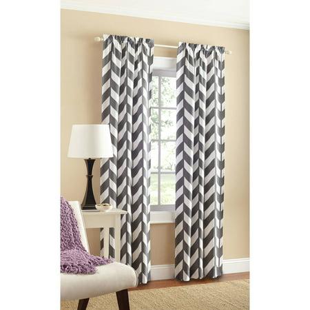 Mainstays Chevron Polyester/Cotton Curtain Panel Pair