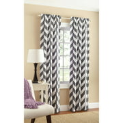 Mainstays Chevron Polyester/Cotton Curtain With BONUS Panel Available In Multiple Colors And Sizes