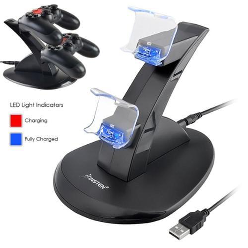 Video Juegos Soporte de estación de muelle insten Dual USB cargador para Sony Playstation 4 PS4 controlador LED soporte (con Cable de carga) + Insten en Veo y Compro