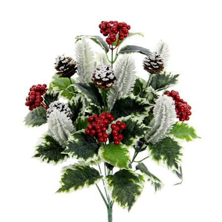 Loon Peak 10 Stems Artificial Holly Leaves, Red Berries and Pinecone Snow Floral Arrangement