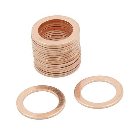 16mm Inner Dia Copper Crush Washers Car Flat Sealing Gaskets Rings