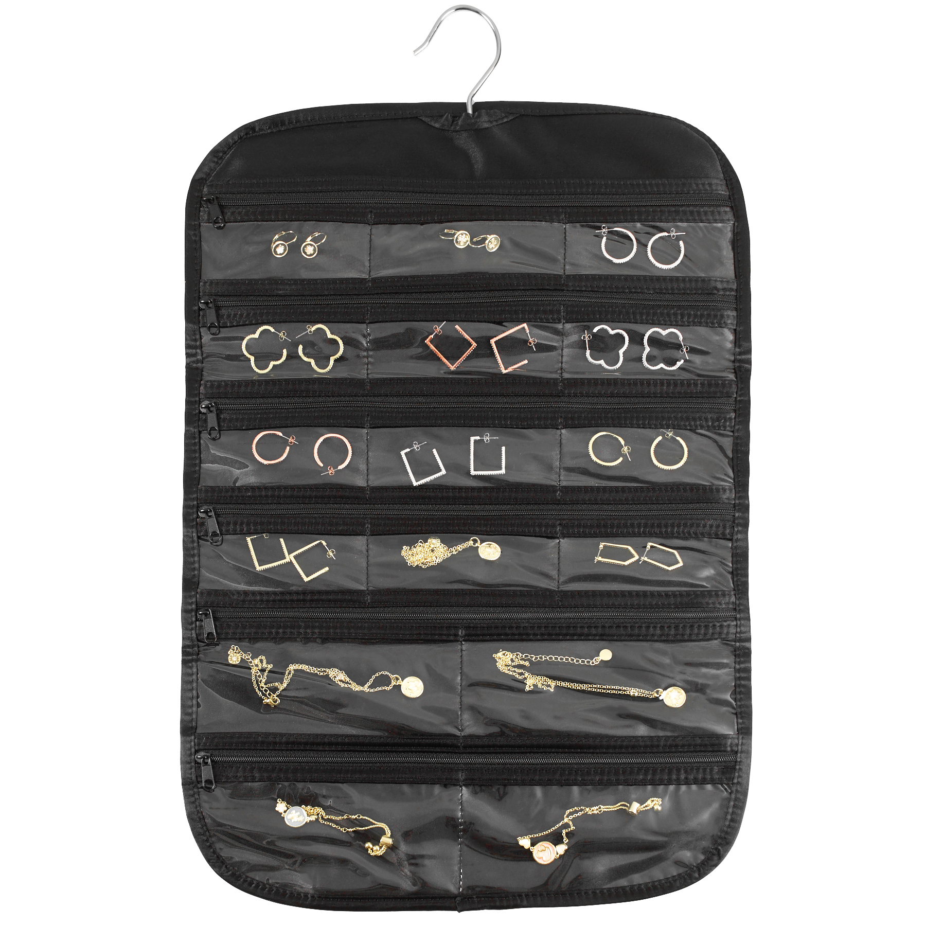 FloridaBrands 31-Pocket Hanging Jewelry and Accessory Organizer with Silver Hook