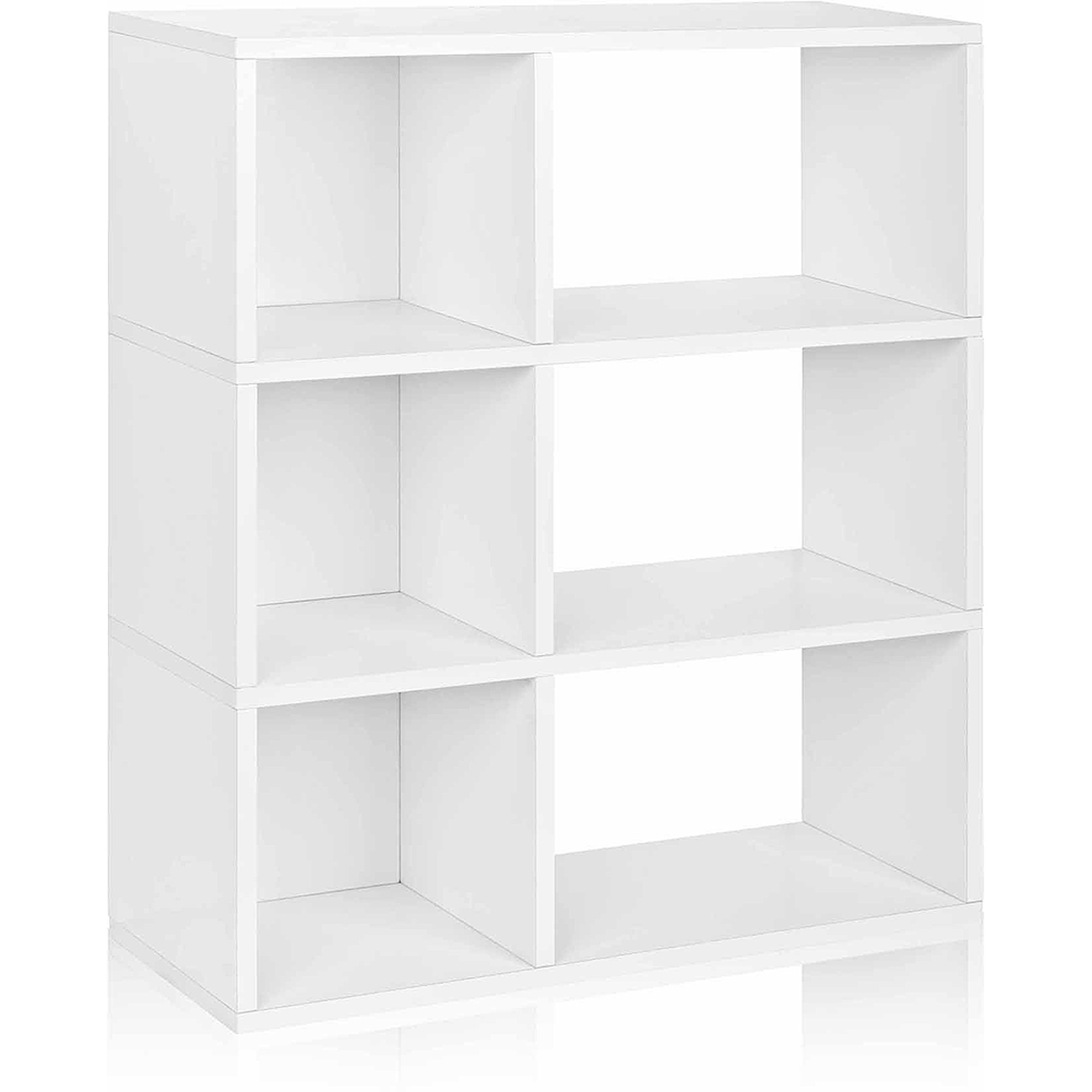 Way Basics Eco 3-Shelf Sutton Bookcase and Cubby Storage, White