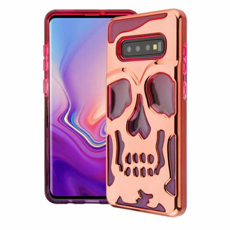 fa93e00d8c3a Wydan Case For Samsung Galaxy S10 Plus - Skull Skeleton Hybrid Case Hard  Cover - Rose Gold on Pink Purple