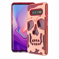 Wydan Case For Samsung Galaxy S10 Plus - Skull Skeleton Hybrid Case Hard Cover - Rose Gold on Pink Purple
