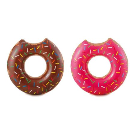 2 Summer Waves Chocolate or Strawberry Pink Donut Inflatable Swimming Pool Float