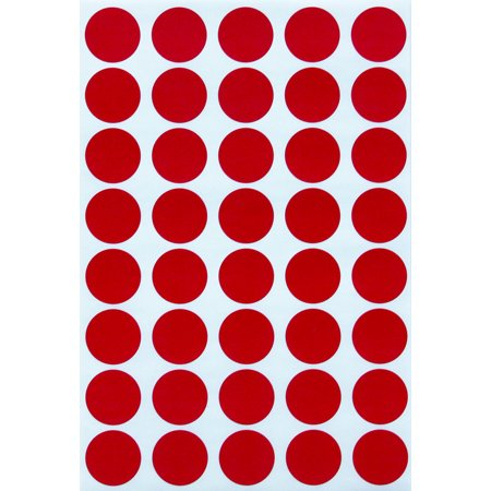 Red dot sticker colored labels , Round stickers 19mm - 1000 Pack by Royal Green