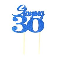 All About Details Slaying 30 Cake Topper, 1pc, 30th birthday, party decor (Black & Silver)