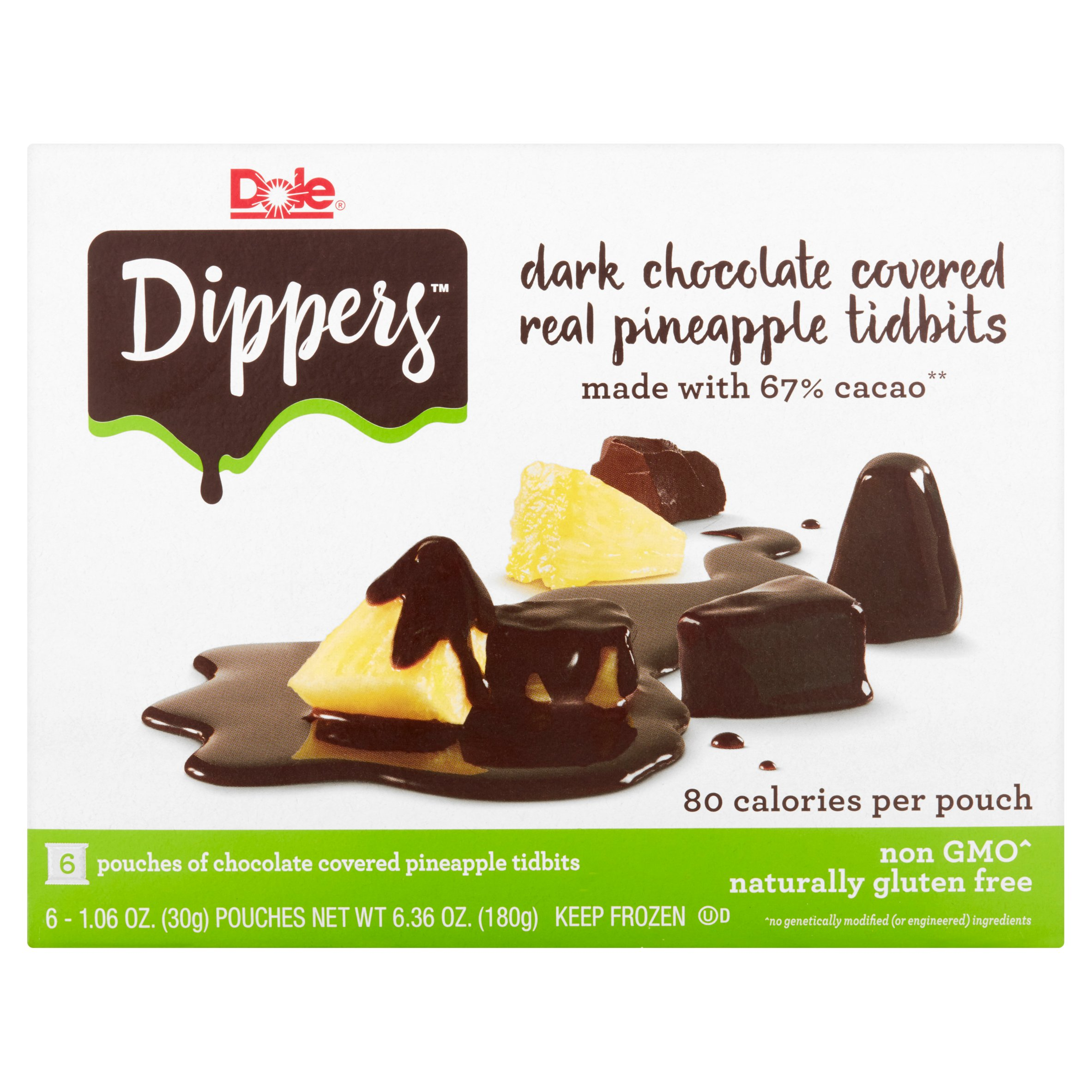 Dole Pineapple Dippers Pineapple Tidbits Covered in Dark Chocolate, 1.06 oz, 6 ct