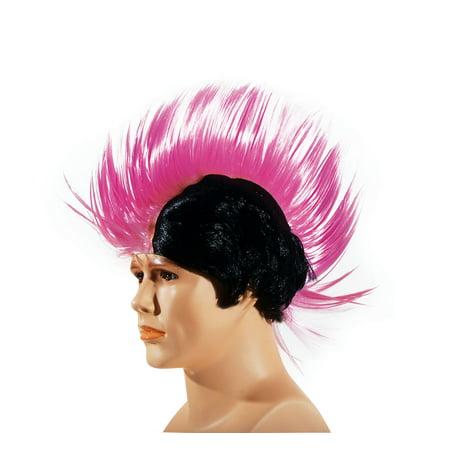 Star Power Punk Ultra Tall Rockstar Mohawk Wig, One Size, Black - Green Wigs For Sale