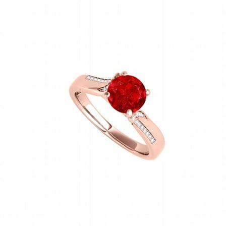 Rose Gold Vermeil Ring (Fine Jewelry Vault UBUNR50859EAGVRCZR Ruby & CZ Designer Engagement Ring in Rose Gold Vermeil, 26 Stones )