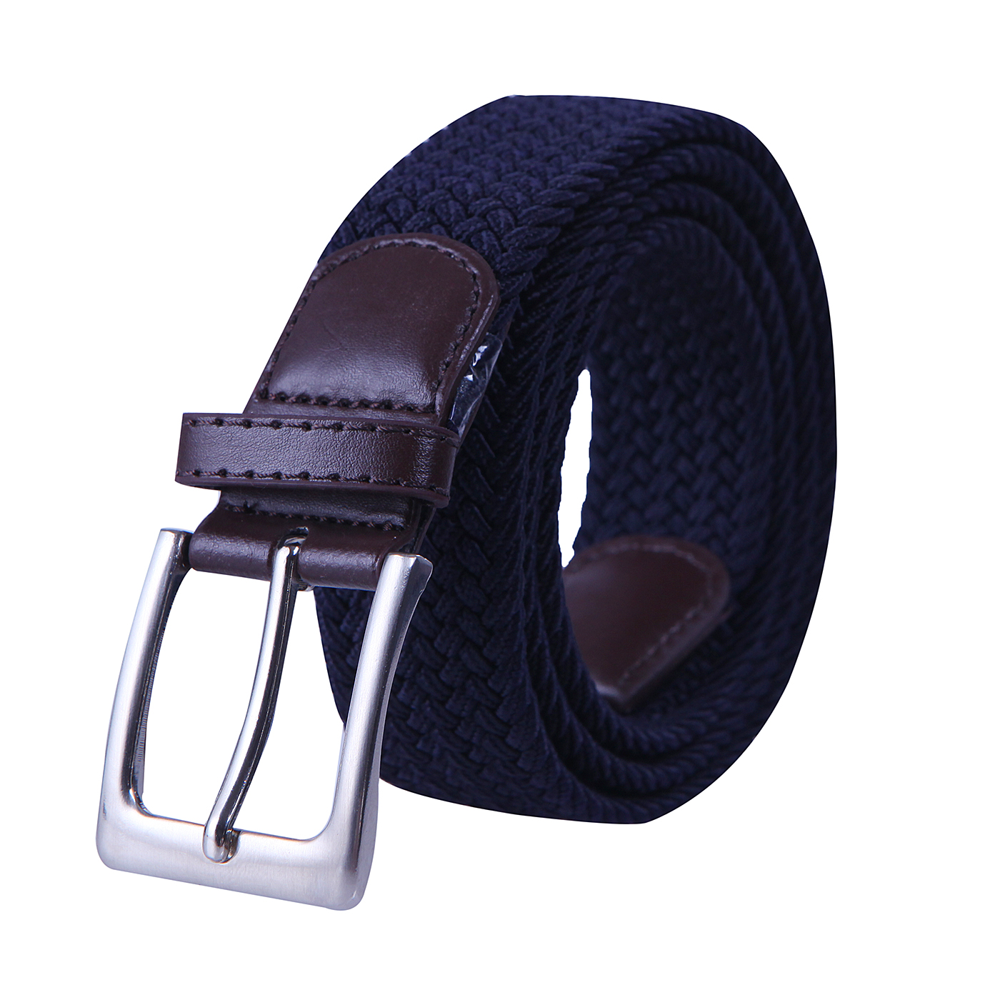 HDE Mens Elastic Braided Web Belt Woven with Leather Accents and Silver Buckle (Navy Blue, X-Large)