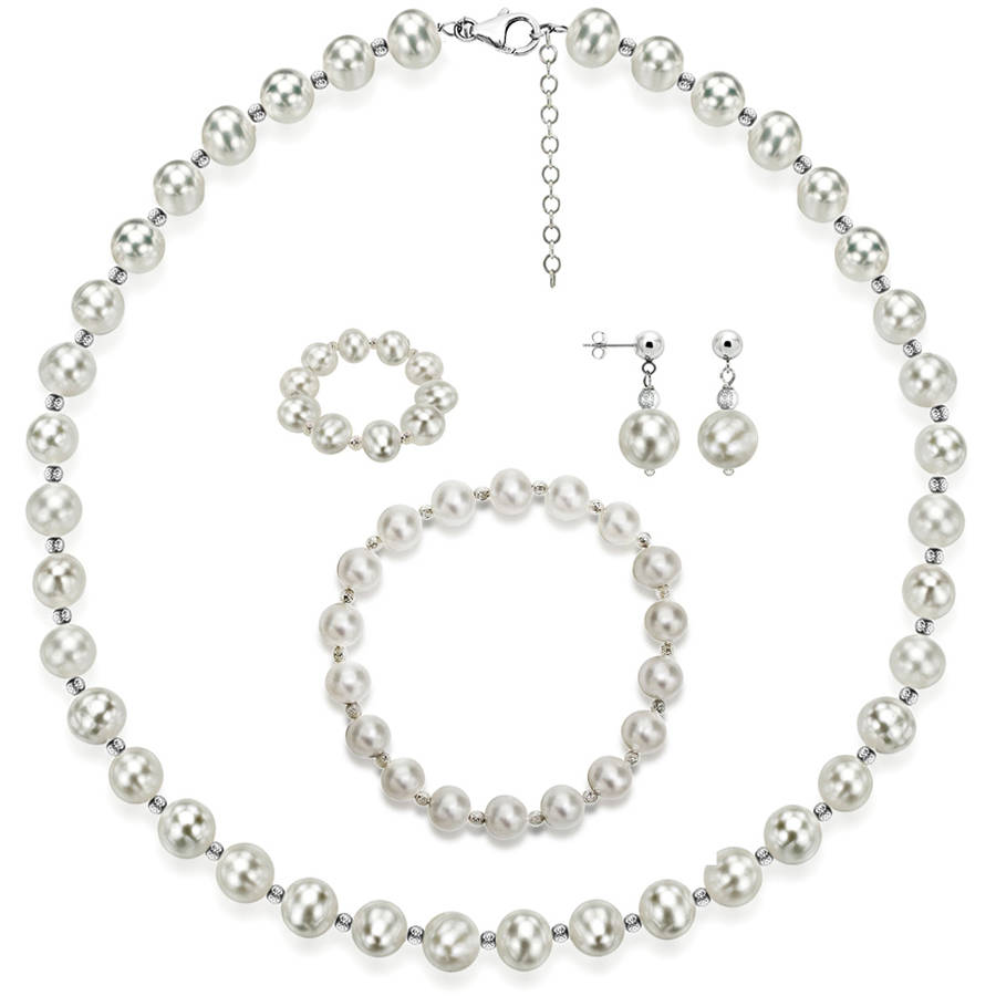 """Image of 4-Piece Set with White Freshwater Pearl Necklace Sterling Silver Chain 18"""" + 2"""" Extender, Matching Stretch Bracelet, Matching Earring, & Matching Stretch Ring, 9mm x 10mm, Silver Beaded"""