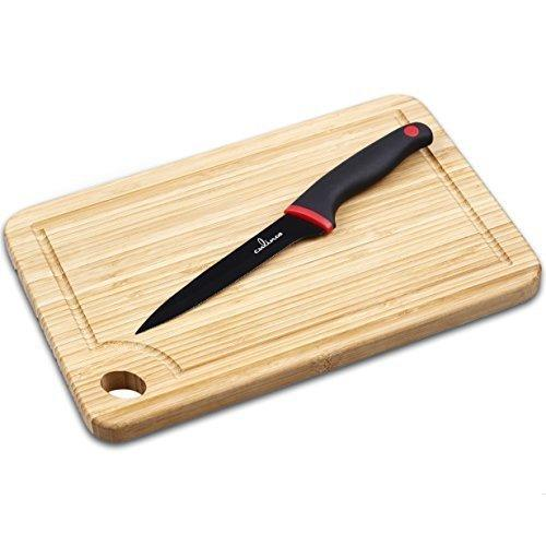 Culina  Bamboo Cutting Board (12 inches x 8 inches) and 5-inch Tomato Knife