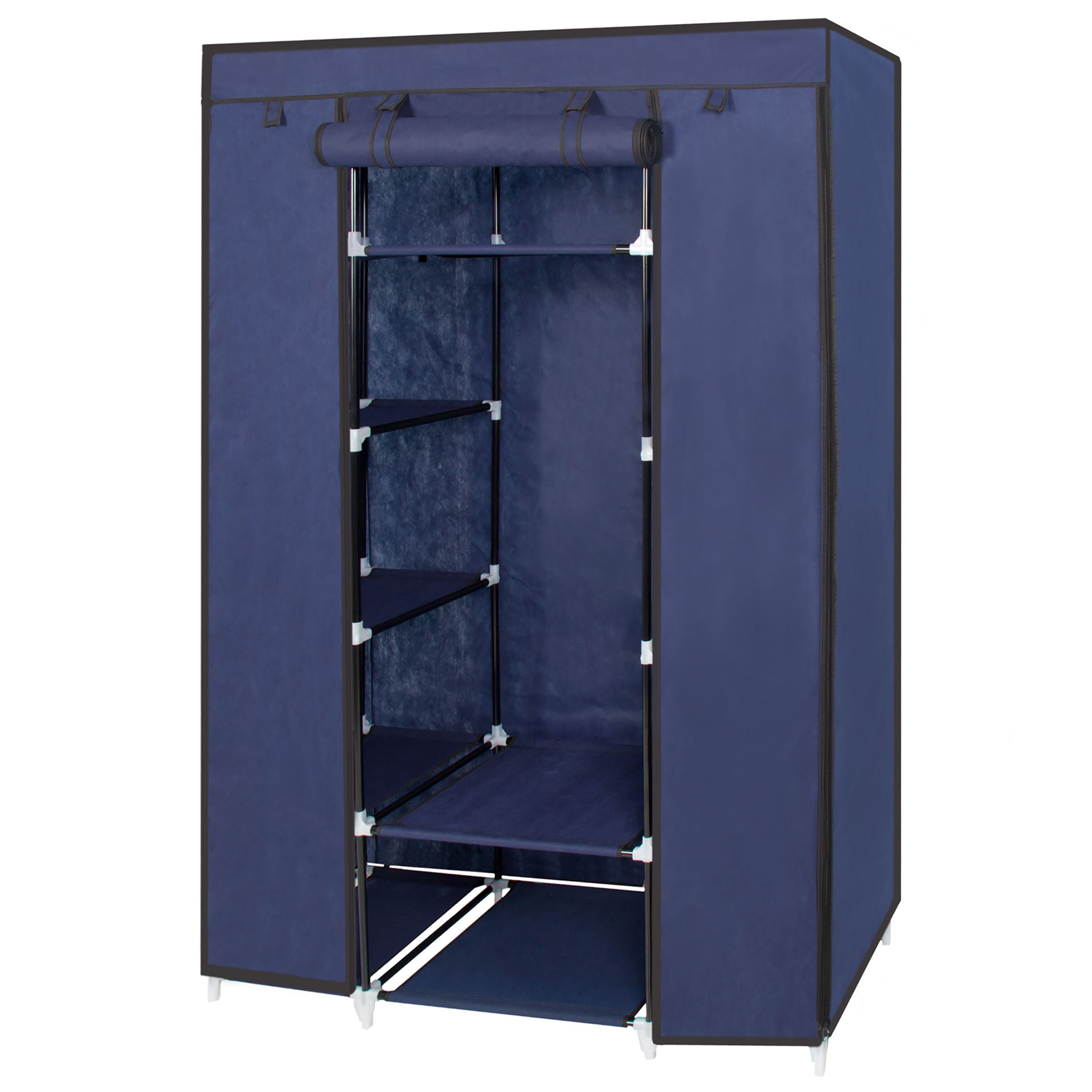 Best Choice Products 13 Shelf Portable Fabric Closet Wardrobe Storage  Organizer W/ Cover And Hanging Rod   Blue   Walmart.com
