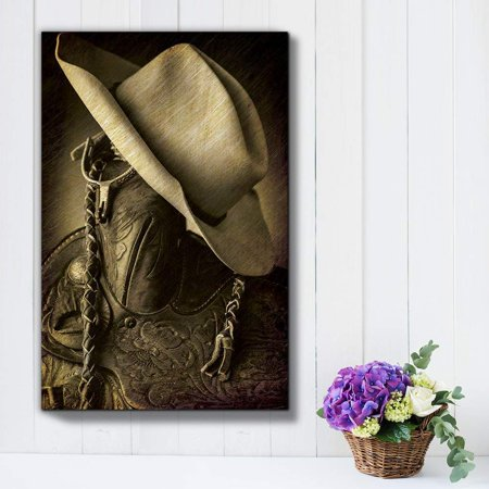 wall26 - Cowboy hat on The Saddle Horn - Hung up Spurs - Wood and Leather Vintage Art - Country and Western Rustic Tone - Canvas Art Home Decor - - Wester Decor